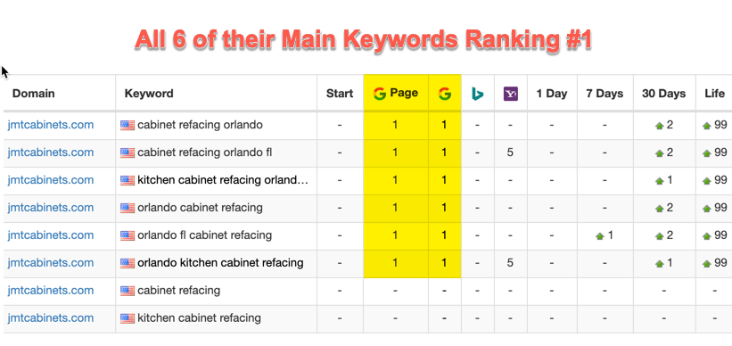 SEO Local Ranking Results