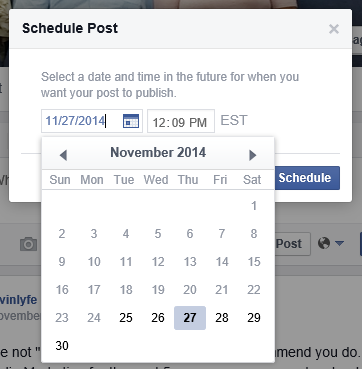 Schedule post on Facebook