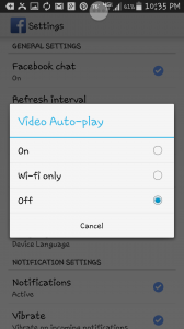 Auto play On, Off or Wifi